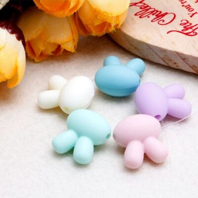 5x Rabbit Necklace Silicone Beads Making For Baby Teether Chew Toy BPA Free