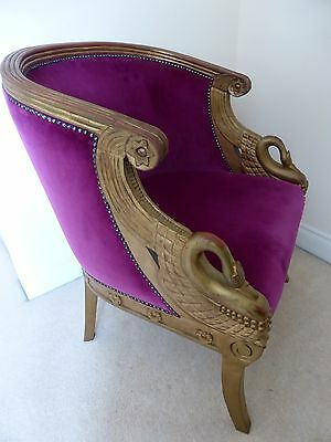 French Imperial Style Louis Swan handles arm chair armchair pink velvet wood