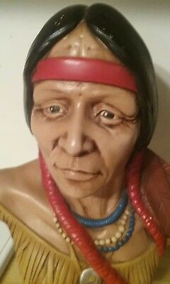 """Indian Head Statue/ Native American/ Collectible 11-12"""" tall"""
