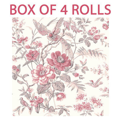 Pink Floral Wallpaper Flowers Birds Heavyweight Washable Paste The Paper 4 Rolls