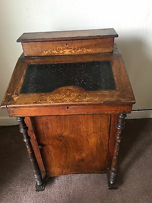 Antique Writing Desk/Bureau - dark oak with leather insert & decorative inlays.