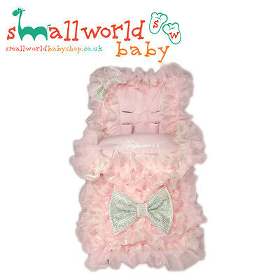 Personalised Girls Pink Extra Frilly Bling Footmuff Cosytoes (NEXT DAY DELIVERY)