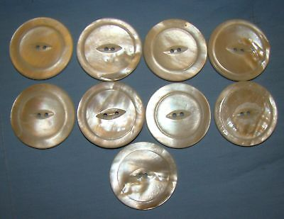 "9 Large 1 1/4"" Vintage Mother Of Pearl MOP Buttons (lot282)"