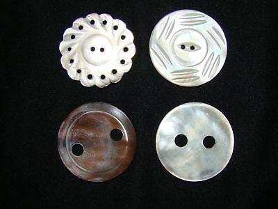 "4 Large 1 7/16"" & 1 1/2"" Vintage Carved Mother Of Pearl MOP Buttons (lot281)"