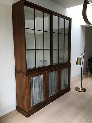 Antique Large Mahogany Display Museum Victorian Bookcase Cabinet