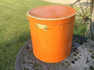 Vintage Retro Orange Cardboard Hat Box , Oval Shaped