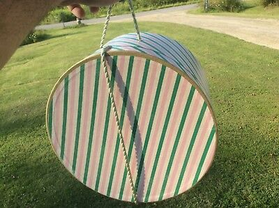 Vintage Multi Striped Colorful Cardboard Hat Box, Rope Handle