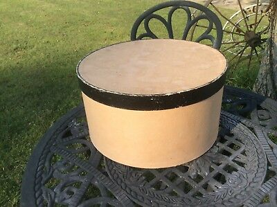 Vintage Retro Hat Box  ,Cardboard Hat Box , Black Trim