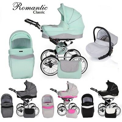 Romantic Classic Retro Travel System Pram Stroller Car Seat New Collection 2019