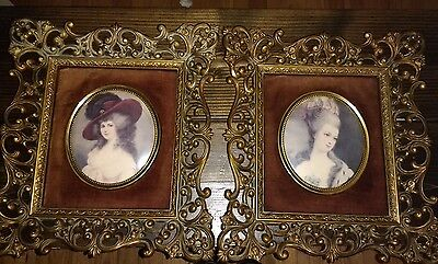 Vintage French Portraits Framed pair