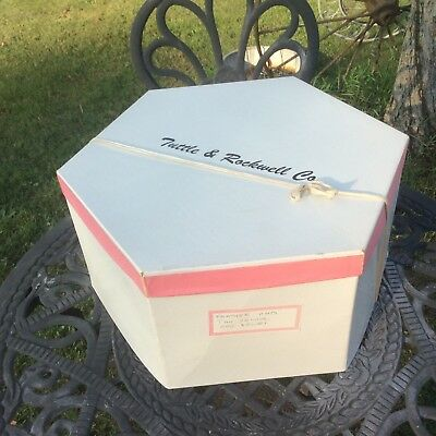 Vintage Tuttle & Rockwell Co. Cardboard Hat Box , White & Pink , String Tie