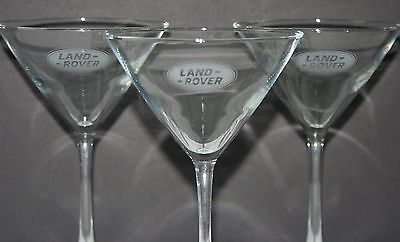 Lot of 3 Land Rover Range Rover Martini Glasses Etched Glass