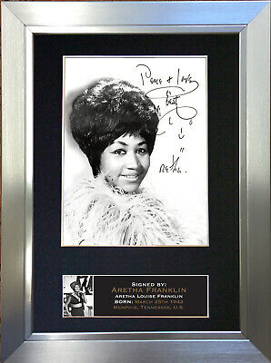ARETHA FRANKLIN Signed Autograph Mounted Photo Repro A4 Print 661