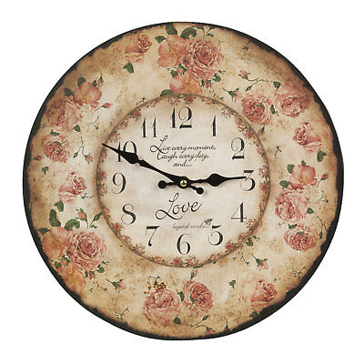 Clayre Cottage Wall Clock Nostalgic Country Style Shabby Roses Chic New