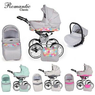 Romantic Classic Retro Travel System Pram Stroller Car Seat 7 Colours New 2018