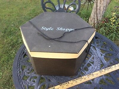 Vintage Style Shoppe Cardboard Hat Box , Gold & Black , String Tie