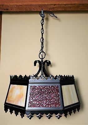 Vintage Mid Century Hanging Swag Slag Stained Glass Lamp Light Fixture Red Cream