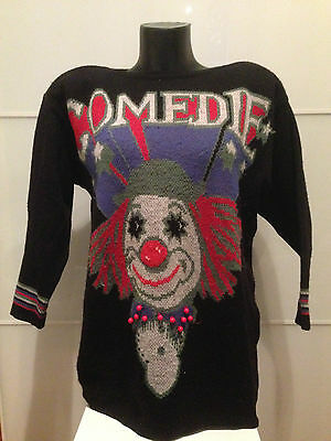 PULL SWEATER VELINO vintage 80's CLOWN Donna Nero TG L MADE IN ITALY