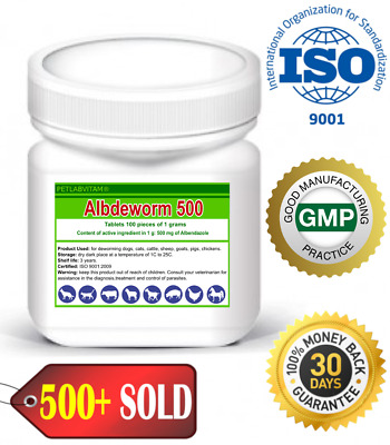 Albdeworm 500® 100 Tablets Albendazole 500mg De-Wormer Dog Cat Animals Treatment