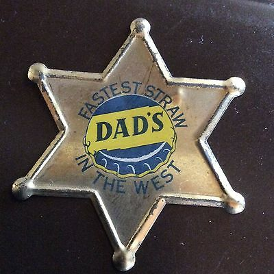 Dads Root Beer Advertising Sign Trademark Tin Sheriff Police Old West Badge