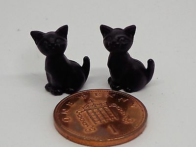 1:12th Scale Two Sitting Black Kittens Doll House Miniature.  Cats Pets Animals