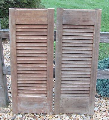 Antique Pair Wood Louvered Shutter 39x15