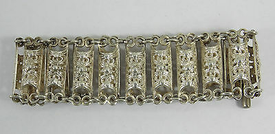 ANTIQUE AMAZING STERLING SILVER FLORAL ORNATE FILIGREE with FLOWERS BRACELET
