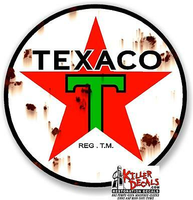 "4"" RUSTY LOOKING texaco pre war decal lubster gas pump gasoline oil man cave"