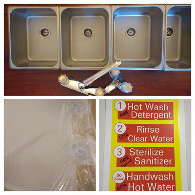 3 Large  + 1 Hand Wash 4 Compartment Sink Set Portable Concession