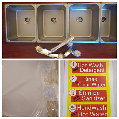 Large 3 Compartment Sink & FREE GIFTS!!! w/ Hand Wash for Portable Concessions