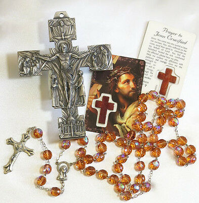 Large Crystal Cut Glass Rosary with Metal Wall Cross & Prayer Card