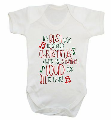 Christmas cheer baby vest Santa reindeer sleigh presents tree carol singer 740
