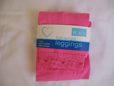 Leggings Size 12 Months PINK w LACE TRIM The Children's Place Toddler Girl's NWT