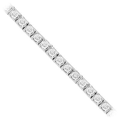 """1 ct. tw. Diamond April Birthstone 7"""" Miracle Bracelet in Sterling Silver"""