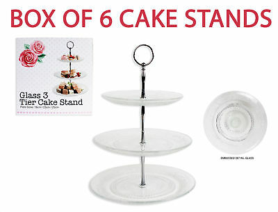 6 x 3 Tier Glass Cake Stand Afternoon Tea Wedding Plate Party Tableware Embossed