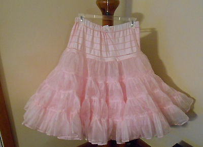 Petticoat Adult Square Dance CanCan Half Slip Very Full Adjustable Waist Pink