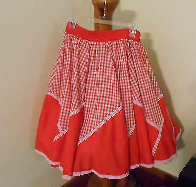"Woman's Square Dance Skirt Malco Modes Red 34"" waist"