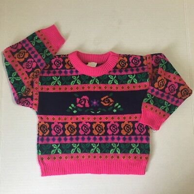 Vintage Bright Pink Sweater 2T Roses Floral Soft