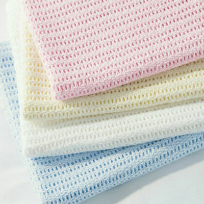 Cellular Blanket Soft Pure 100% Cotton Baby Comfort Newborn 70 X 90cms Pack Of 2
