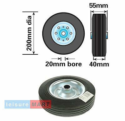Spare replacement steel wheel for jockey wheels with solid rubber tyre 200mm dia