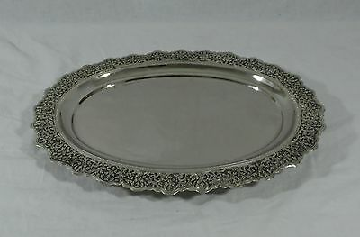 "Vintage 15"" Ornate Hand Hammered & Floral Chased Footed Silver Plated Tray"