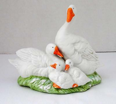 Vintage White Bisque Porcelain Geese w/ Baby Goslings Figurine HOMCO? VGC