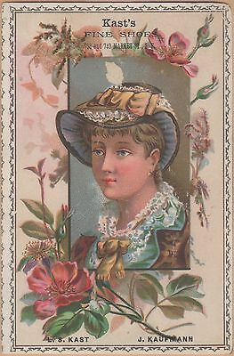 Victorian Trade Card-Kast's Shoes-San Francisco, CA-Flowers Framing Dressy Woman