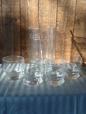 7PC Vintage Hand Etched Glass Cocktail Mixer/Decanter and Set of 5 Rocks Glasses