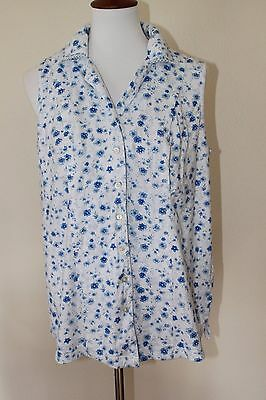 Motherhood Medium Blue & White Sleeveless Floral Button Up Pajama PJ Nursing Top