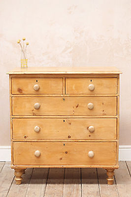 Antique Vintage Rustic Country Mid Century Pine Chest Of Drawers