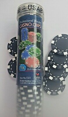 Cardinal Industries Professional Weight Poker Chips 50 ct., Black