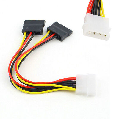 1pc 4 Pin IDE Male Molex to Dual SATA Y Splitter Female HDD Power Adapter Cable