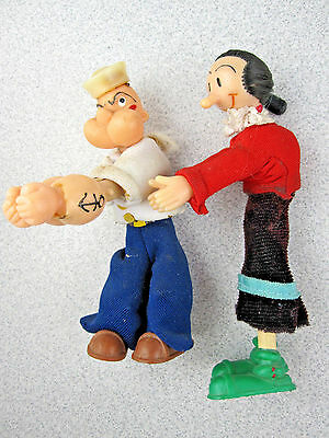 Very RaRe POPEYE & OLIVE OYL Figure Doll Toy Pencil Hugger/Clothes Pin Vtg 1980