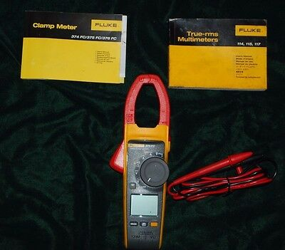 Fluke 374 FC TRMS Clamp Meter Multimeter w/ Case & Leads FREE SHIPPING!